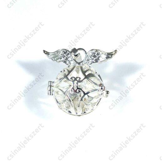 Ezüstözött szárnyas nyitható angyalhívó medál