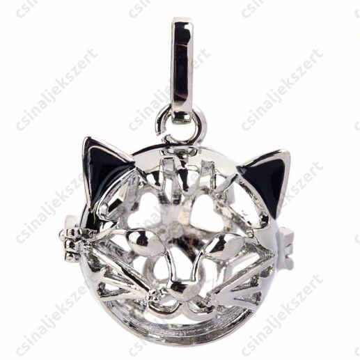Ródiumos fekete fülű cica nyitható angyalhívó medál