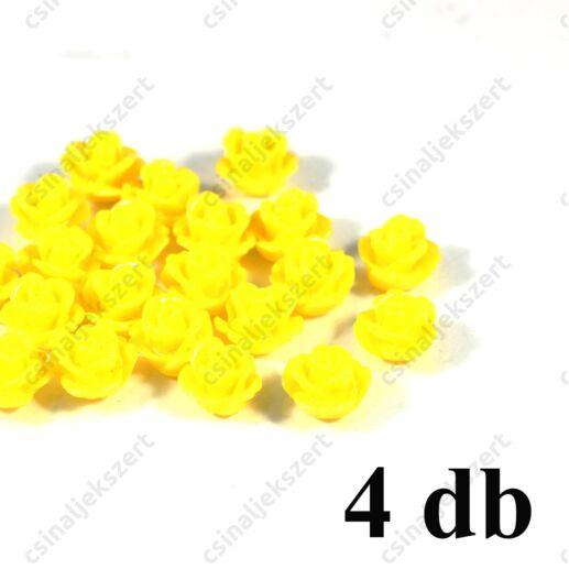 10 mm Citromsárga műanyag rózsa virág kaboson