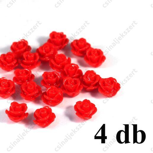 10 mm Piros Műanyag rózsa virág kaboson