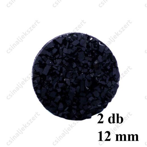 11 mm Fekete műgyanta drúza achát kaboson