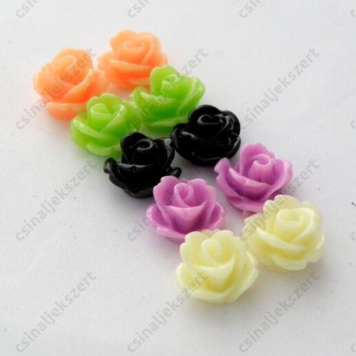 Műanyag  rózsa cabochon kaboson dísz 10 mm