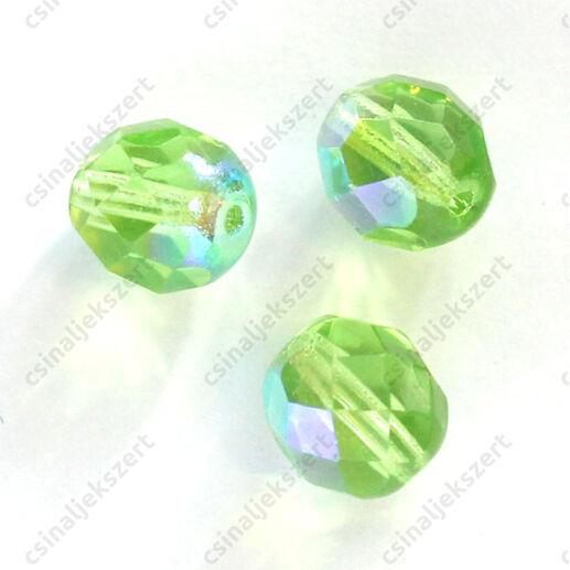 Cseh csiszolt üveggyöngy 8 mm Emerald AB 10 db