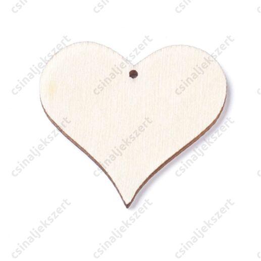 2 db 40 mm Szív alakú fa medál