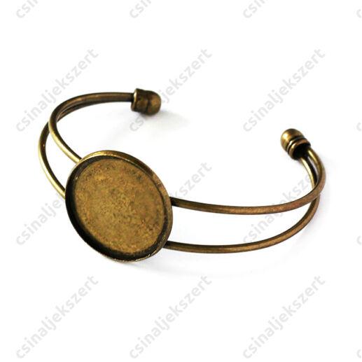 Antikolt bronz színű tányéros karperec kerek 20 mm