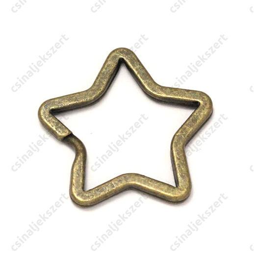 Antikolt bronz színű csillag alakú kulcskarika
