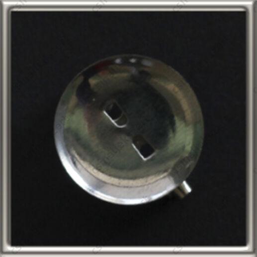 Ródiumos kerek foglalatos kitűző alap 18 mm