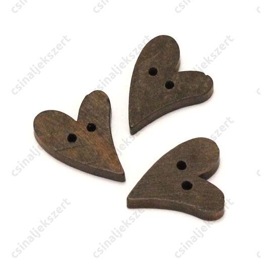 Szív alakú fa gomb sötétbarna 18 mm