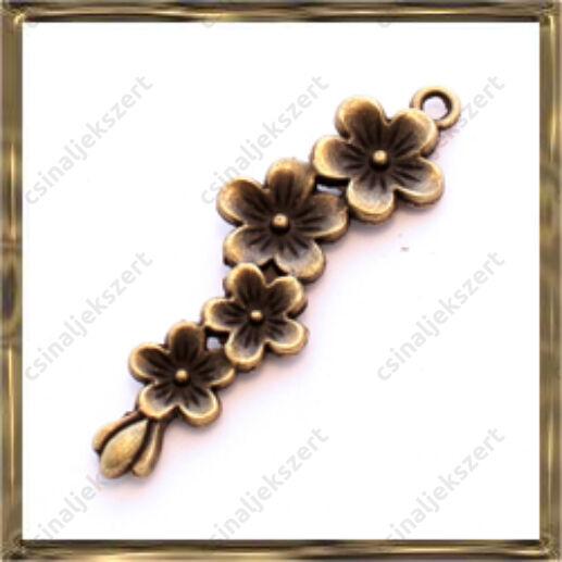 Antikolt bronz színű virágfüzér függő dísz
