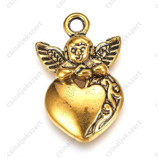 Antikolt arany színű szív angyallal függő dísz