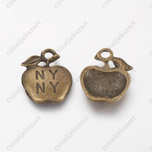 Antikolt bronz színű NY alma függő dísz