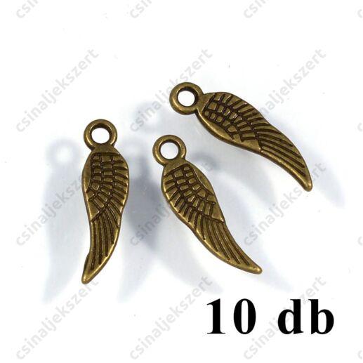 16 mm Antikolt bronz színű angyalszárny medál függő dísz