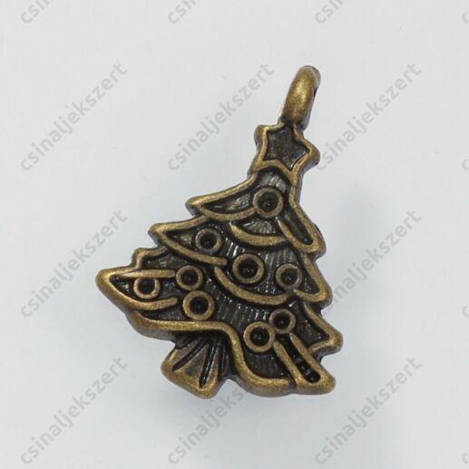 Antikolt bronz színű díszes karácsonyfa függő dísz
