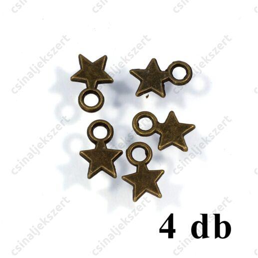 Antikolt bronz színű kis csillag függő dísz