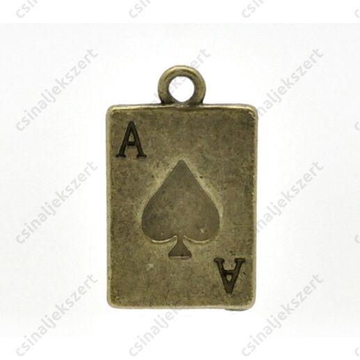 Antikolt bronz színű kőr ász kártya függő dísz