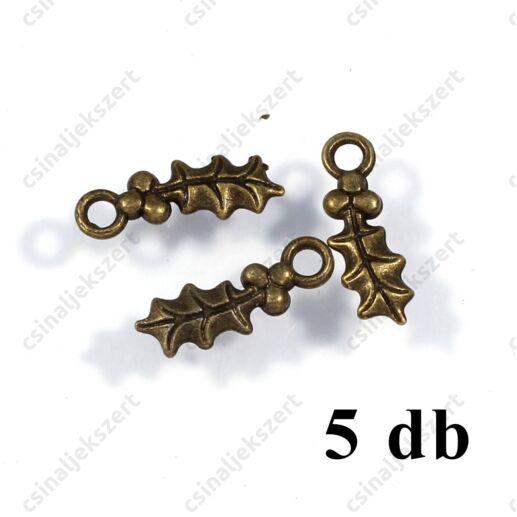 5 db Antikolt bronz színű magyal levél bogyóval függő dísz NIKKELMENTES