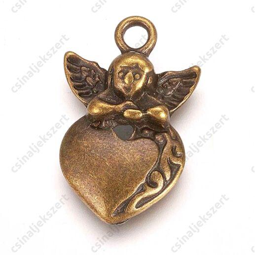 Antikolt bronz kulcs függő díszAntikolt bronz színű szív angyallal függő dísz