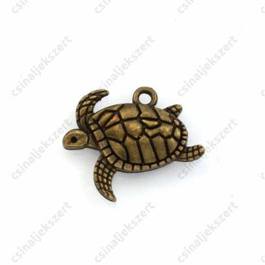 Antikolt bronz színű úszó teknős függő dísz