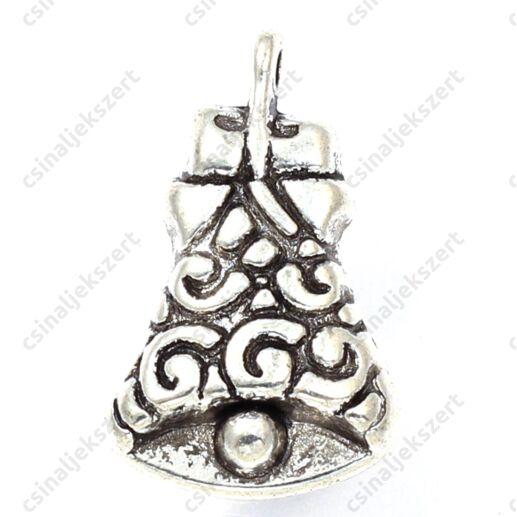 Antikolt ezüst színű díszes harang függő dísz