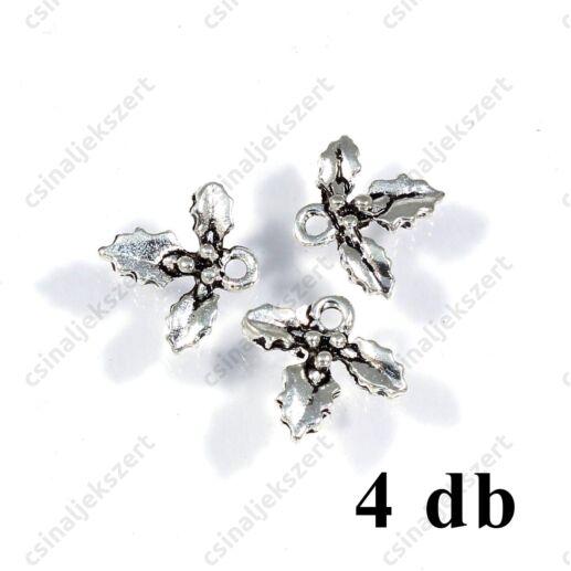 Antikolt ezüst színű három magyal levél bogyóval függő dísz