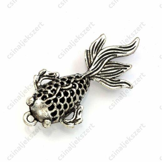 Antikolt ezüst színű nagy méretű 3D hal függő dísz medál