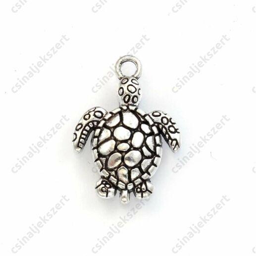 Antikolt ezüst színű teknős függő dísz