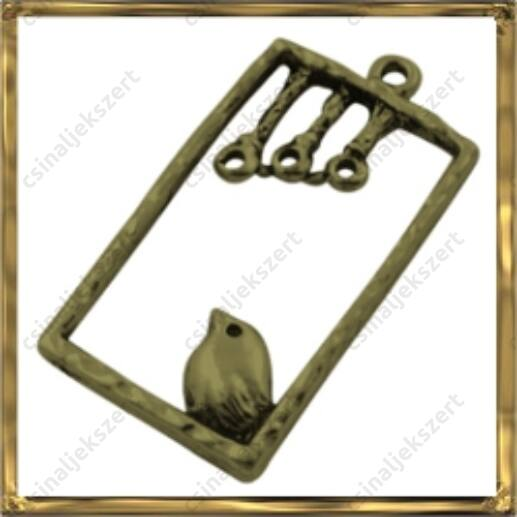 Antikolt bronz madárkás téglalap medál