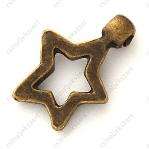 Antikolt bronz színű áttört csillag függő dísz