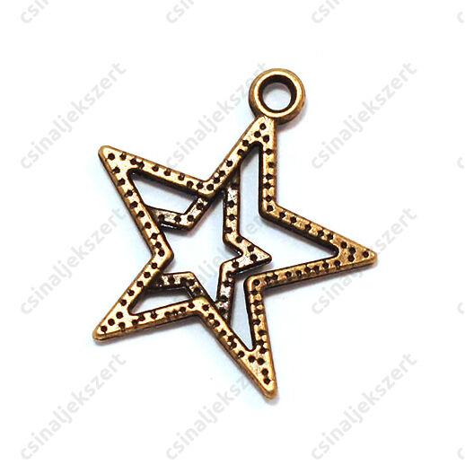 Antikolt bronz színű dupla csillag függő dísz