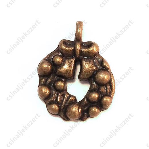Antikolt bronz színű koszorú gömbökkel függő dísz