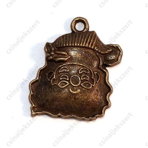 Antikolt bronz színű mikulás fej domború függő dísz