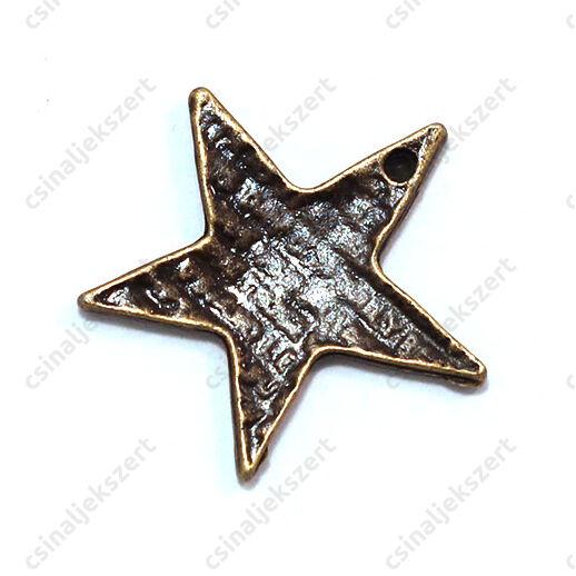 Antikolt bronz színű rusztikus csillag függő dísz