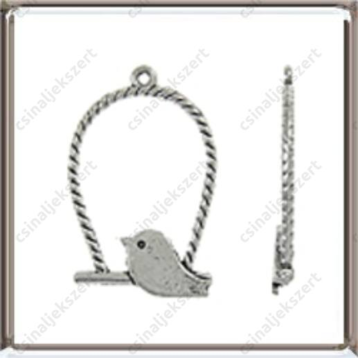 Antikolt ezüst színű, madárkás hinta medál