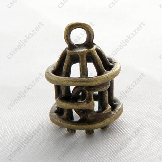 Antikolt sárgaréz bronz színű, kalitka alakú függő dísz