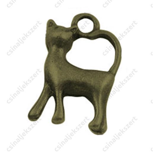Antikolt bronz színű 3D cica függő dísz