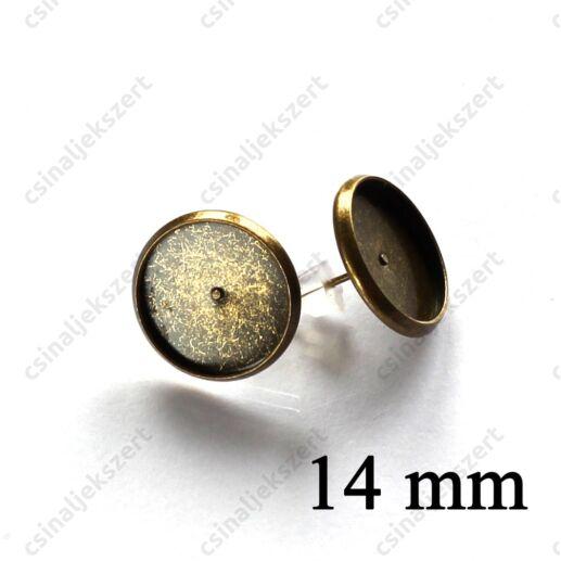 Antikolt bronz színű bedugós tányéros fülbevaló alap 14 mm