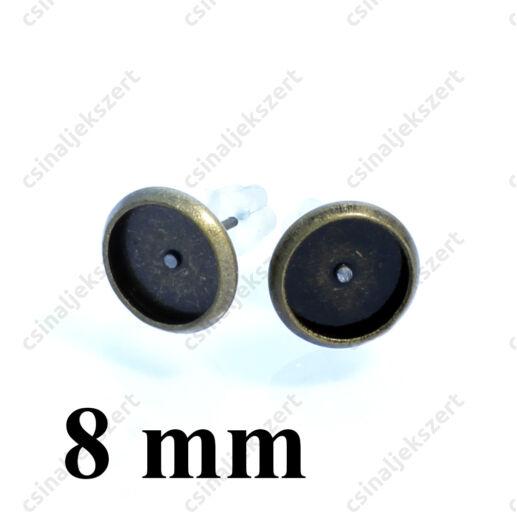 Antikolt bronz, réz tányéros bedugós fülbevaló alap 8 mm NIKKELMENTES