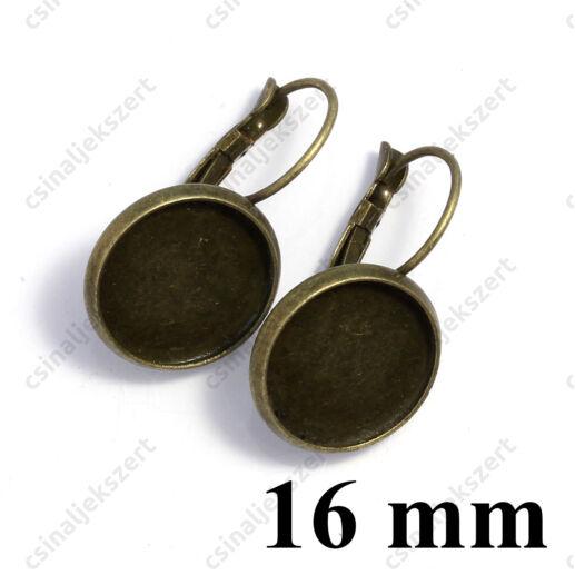 Antikolt bronz francia kapcsos tányéros fülbevaló alap 16 mm NIKKELMENTES