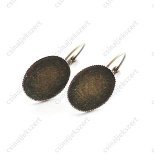 Antikolt bronz színű francia kapcsos ovális tányéros fülbevaló alap 13x18 mm