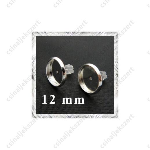 Ezüstözött réz tányéros bedugós fülbevaló alap 12 mm NIKKELMENTES