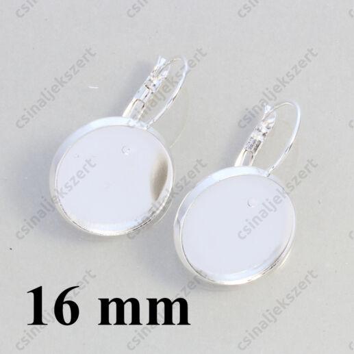 Ezüstözött réz tányéros francia kapcsos fülbevaló alap 16 mm NIKKELMENTES