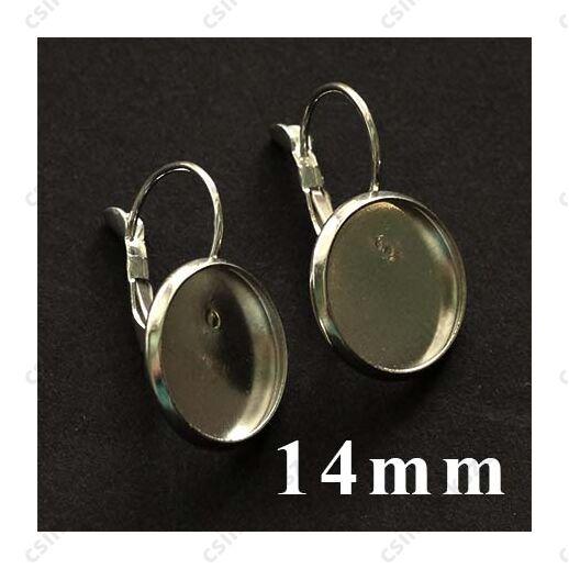 Ezüstözött francia kapcsos tányéros fülbevaló alap 14 mm