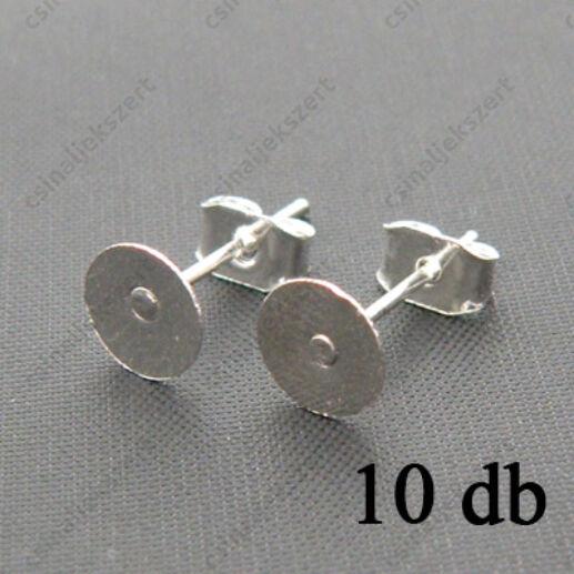 Ezüstözött lapkás bedugós fülbevaló alap 6 mm