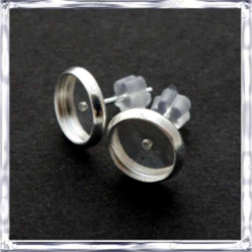 Ezüstözött réz bedugós tányéros fülbevaló alap 10 mm NIKKELMENTES