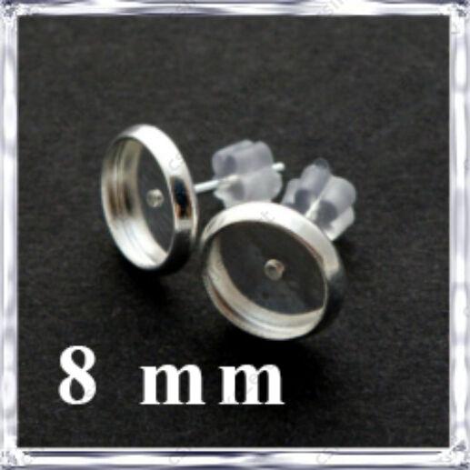 Ezüstözött réz tányéros bedugós fülbevaló alap 8 mm NIKKELMENTES