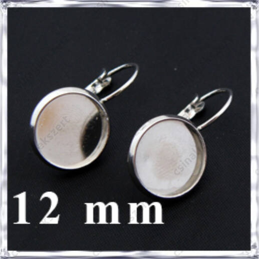 Ezüstözött réz tányéros francia kapcsos fülbevaló alap 12 mm
