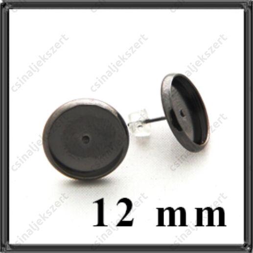 Fekete nikkel réz tányéros bedugós fülbevaló alap 12 mm