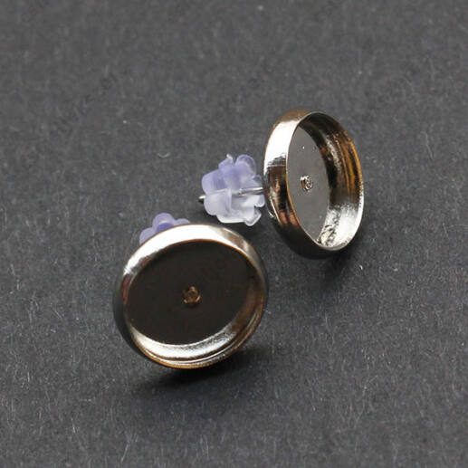 Ródiumos tányéros bedugós fülbevaló alap 10 mm