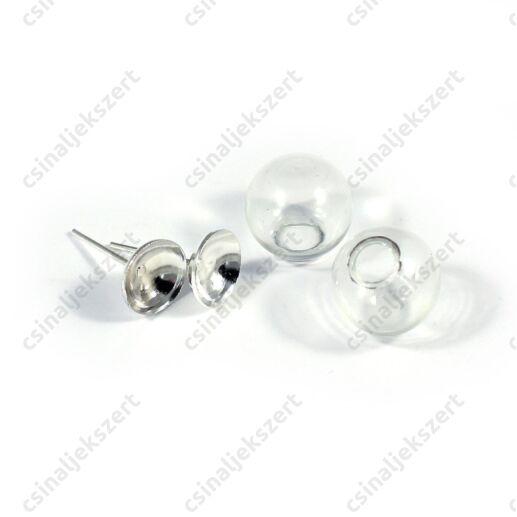 Ródiumos bedugós fülbevaló alap 12 mm üveg búrával