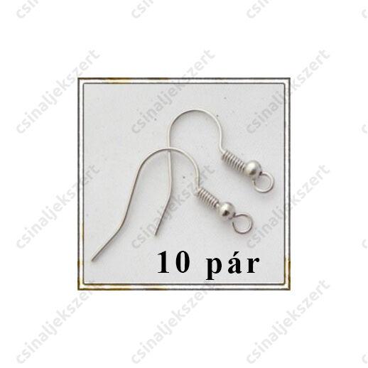 Ródiumos golyós fülbevaló alap NIKKELMENTES 10 pár